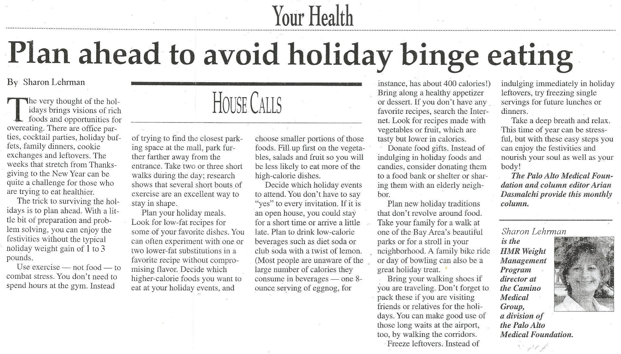 health newspaper article: